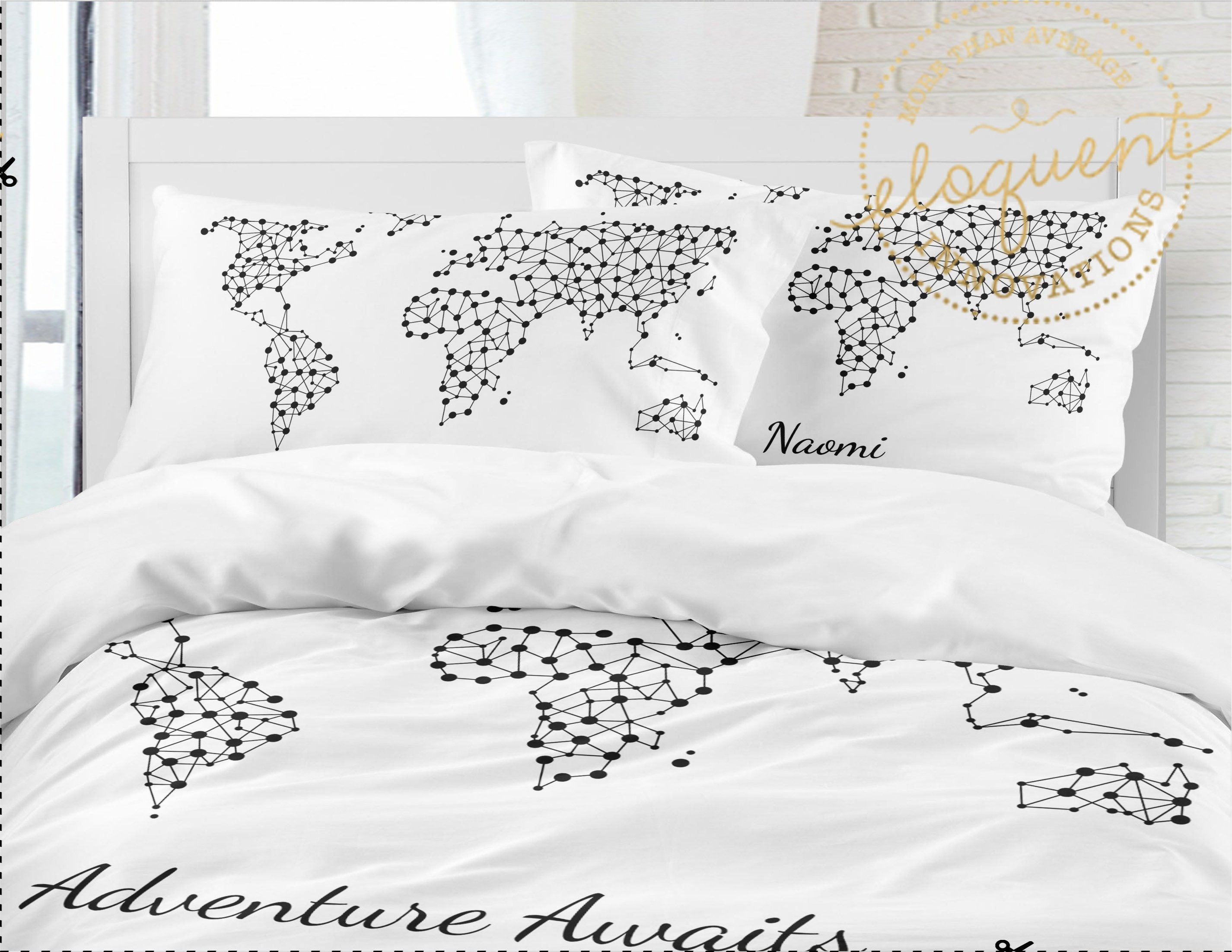 Adventure Awaits - World Map Comforter -Personalized with Name ...