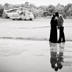 Casablanca style engagement session at an airport hanger!