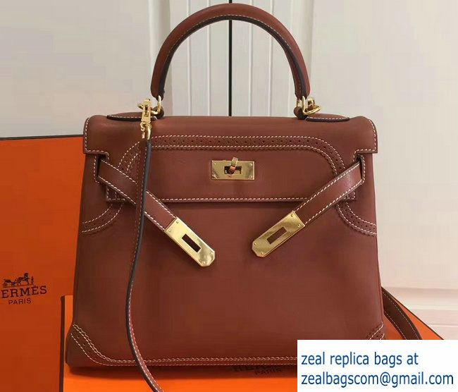 Hermes Lace Kelly 28cm Bag in Swift Leather Brown 2017