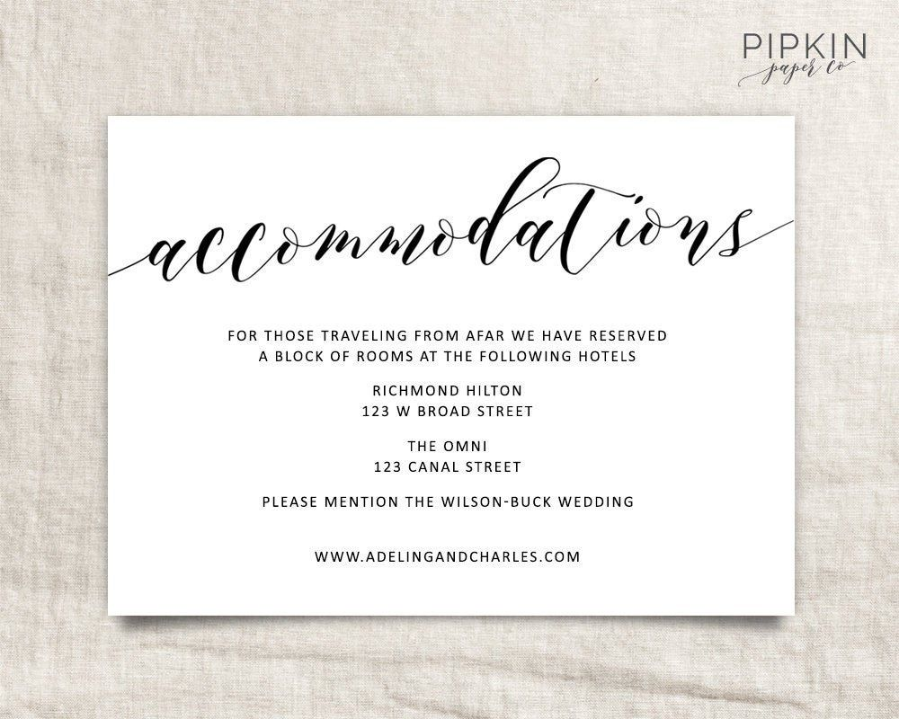 Wedding Hotel Information Card Template Wedding Accommodations Wedding Invitation Inserts Accommodations Card