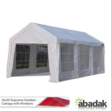 Our 10 X 20 Supreme Tarp Tent Canopy Enclosed With Windows Completely Shields Your Vehicles Properties And Materials From Heat Wat Canopy Tent Tarps Canopy