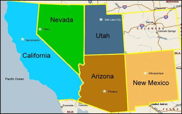 Map of South West Desert | The 5 Desert States of the ...