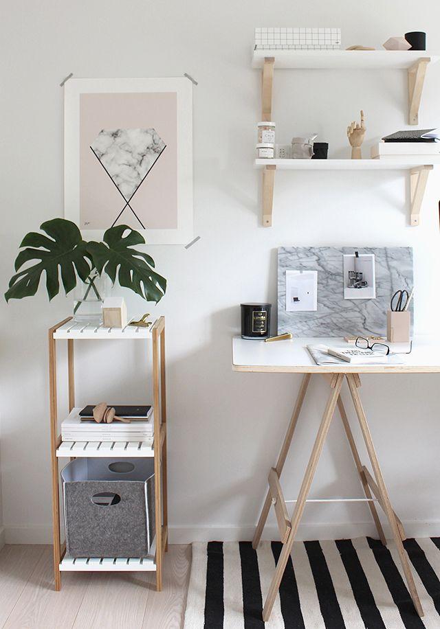 Para Copiar Home Office Com Branco E Madeira Crua Via Omundodejess