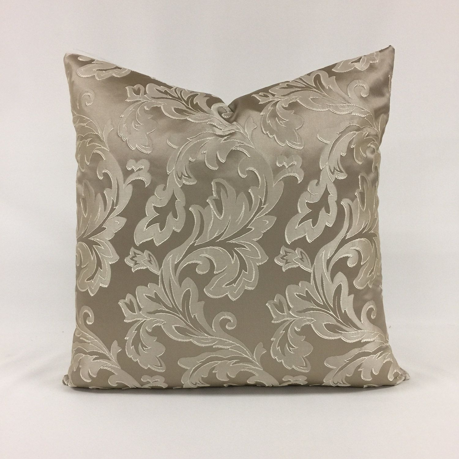 Pillow cover x taupe acanthus leaf design by