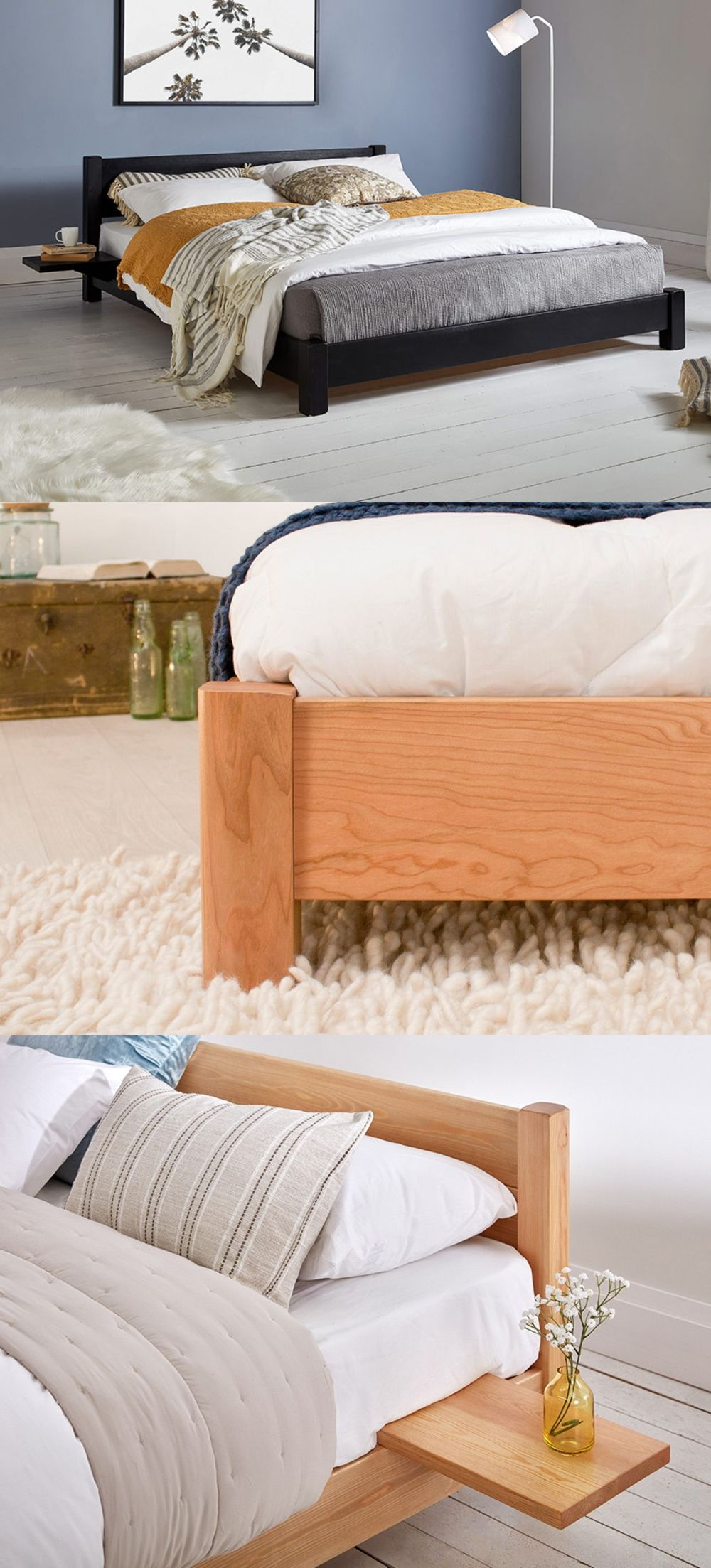 Our low beds, paired with a floating shelf or side table