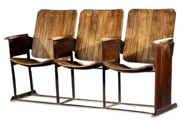alte Kinositze 3-Sitzer Vintage Desing massiv Holz Teakholz Retro - stilvolle esszimmer mobel retro look