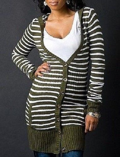 ROCAWEAR Sweater Dress Cardigan * HOODED * Long Sleeve Button Up ...
