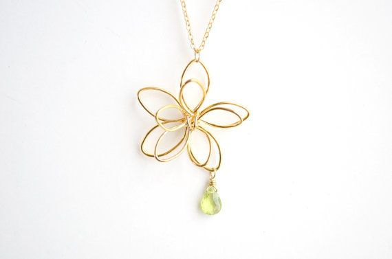 Gold Flower Necklace Wire Flower Peridot Drop by paperfacestudio, $28.00
