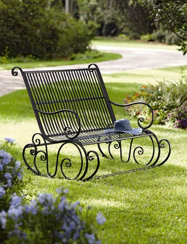 Fiddlehead Double Rocker Rocking Bench Outdoor Wrought Iron