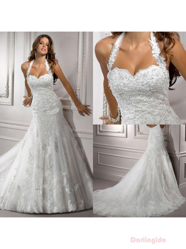 mermaid Gown Wedding Dresses 2013   ... Halter Full Lace Mermaid ...