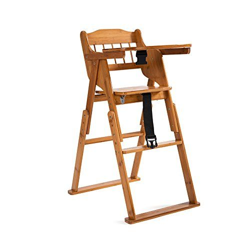 ELENKER Wooden Folding High Chair With Tray Adjustable Height Chair Smooth  Surface   Easy Wipe Smooth Surface Makes All That Baby Goo Simple To Clean.