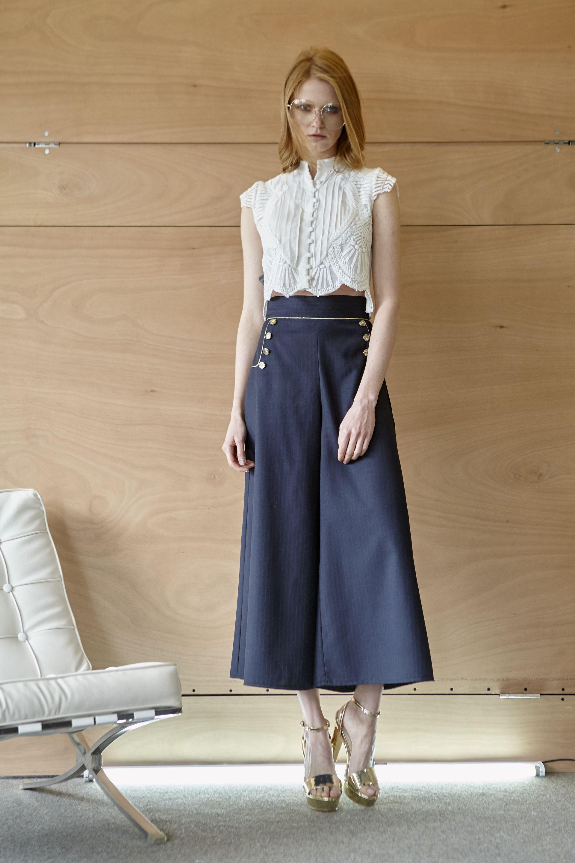 Cool wool παντελόνα και πουκάμισο με appliqué δαντέλα  a28dea1c0ef