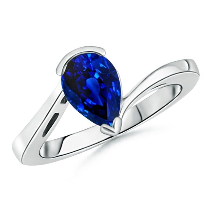 Love this Jewelry Style from Angara! Solitaire Pear Blue Sapphire Bypass Ring