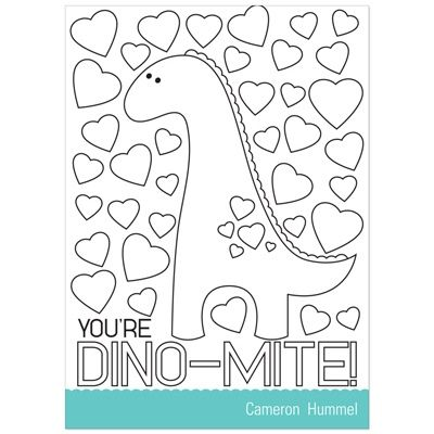 Dinosaur Fever Valentines Day Cards for Kids – Coloring Valentine Cards