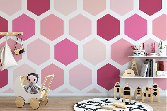 Pink Hexagon Removable Wallpaper Geometric Peel And Stick Etsy Hexagon Wallpaper Toddler Wallpaper Wall Wallpaper