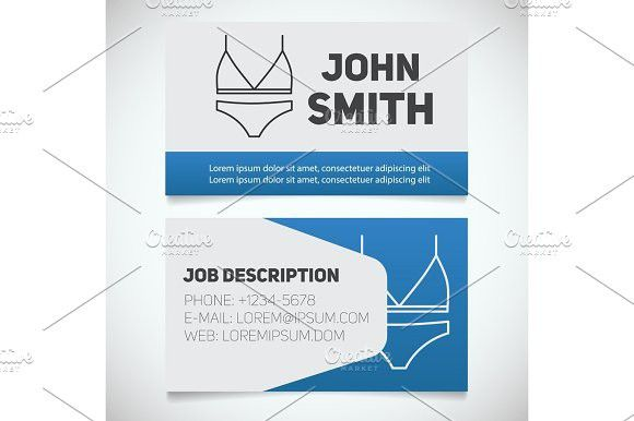 Business Card Print Template With Bra And Panties Logo Clothes