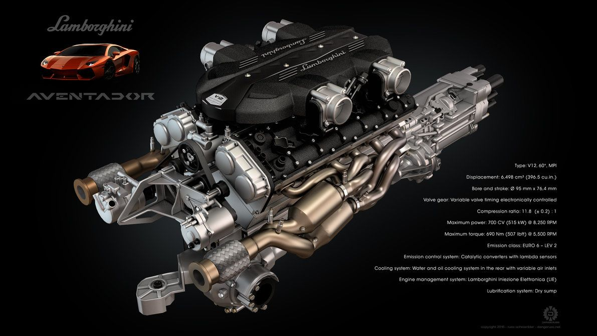 Lamborghini Aventador V12 Engine By Dangeruss Deviantart Com On