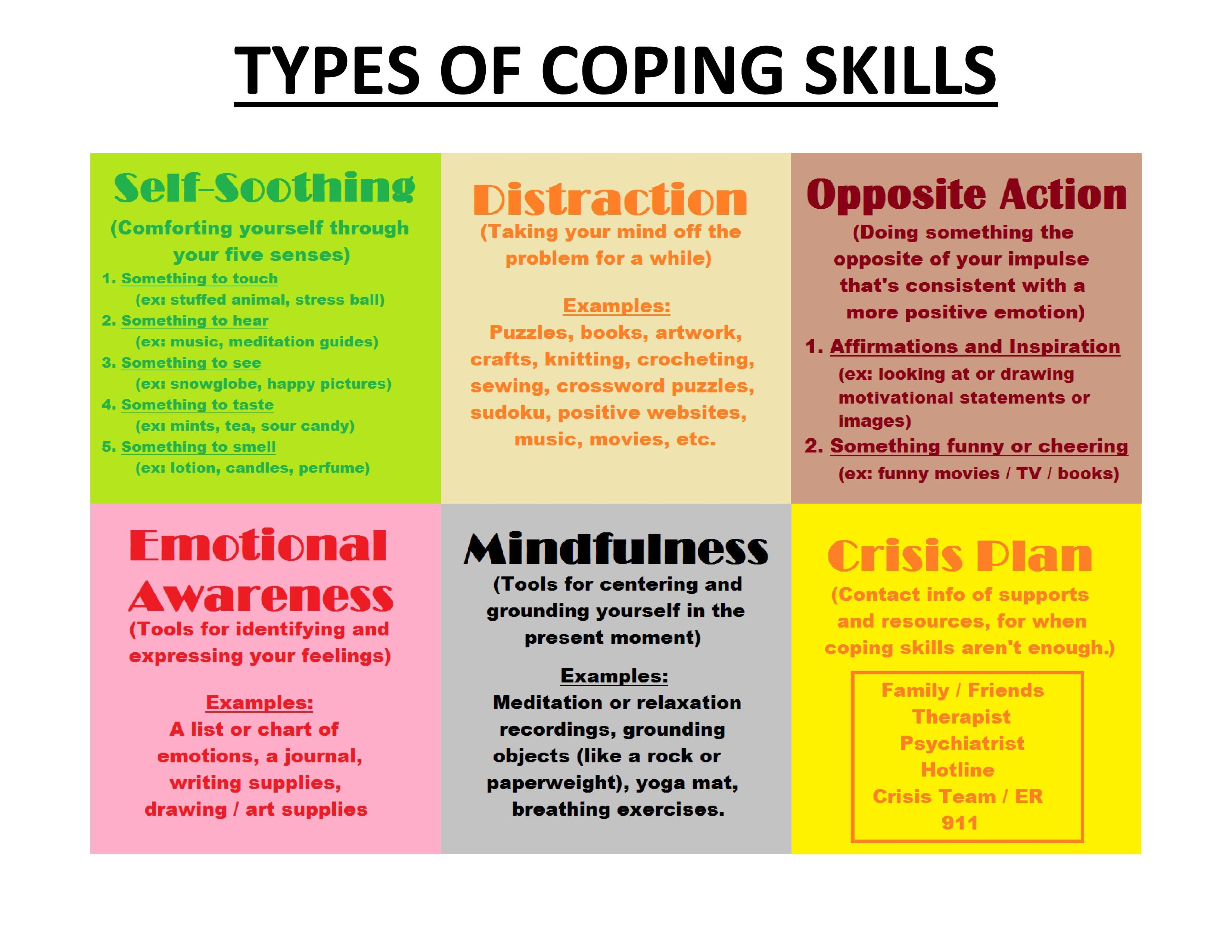 Different Types Of Coping Skills Self Soothing Distraction