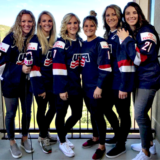 Hilary Knight Amanda Kessel Meghan Duggan Brianna Decker Alex Rigsby Monique Lamoureux Hockey Girls Women S Hockey Usa Hockey