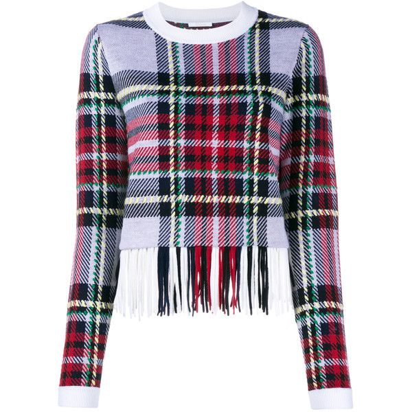 Chloé Fringed Tartan Knit (€1.550) ❤ liked on Polyvore featuring tops, blusas, chloe top, colorful tops, knit tops, fringe top and plaid top
