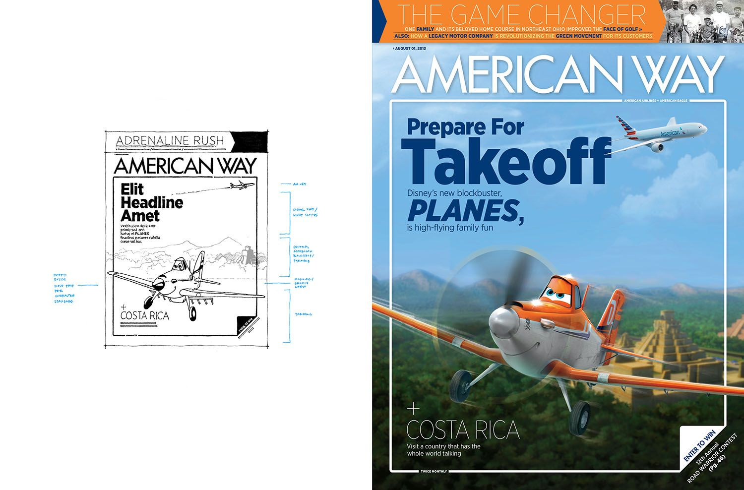 Disneys Planes  Magazine American Way  Illustration