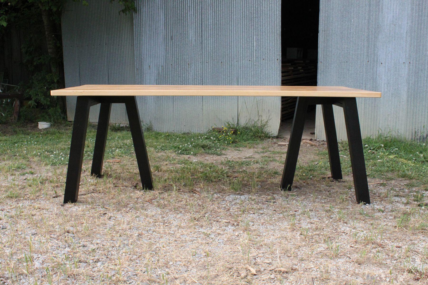Saw Horse Table Chunky Black Legs