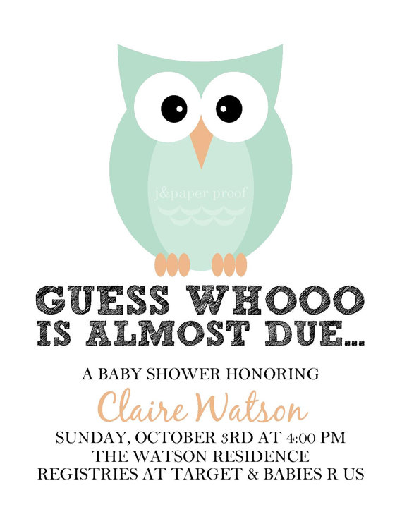 owl baby shower invitations printable digital file themed baby