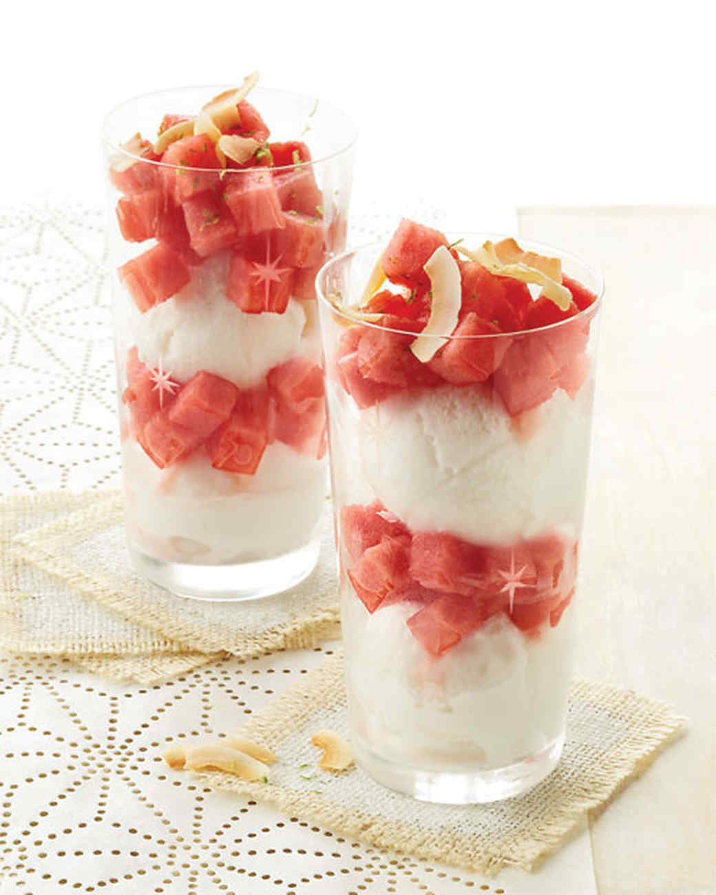 Watermelon and Coconut Sorbet Parfaits Recipe | Martha Stewart Living — Cutting fruit and scooping ice cream are the only skills you need to make these sensational parfaits.
