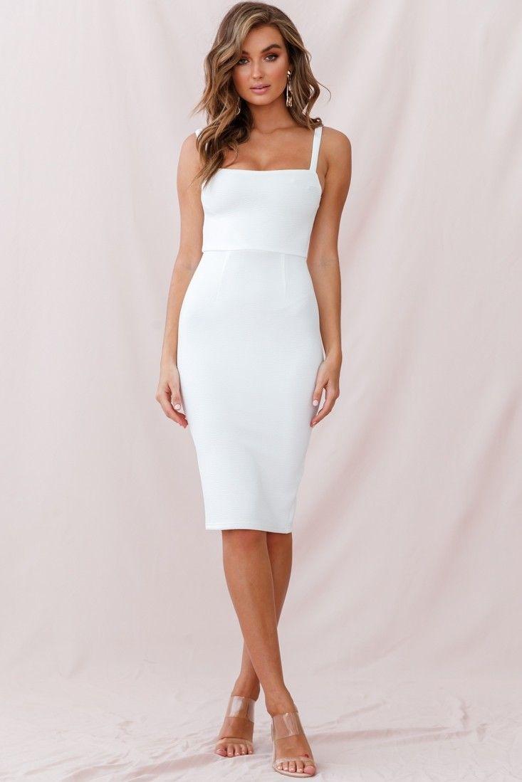 Georgia Square Neckline Midi Dress White -   17 white dress Midi ideas
