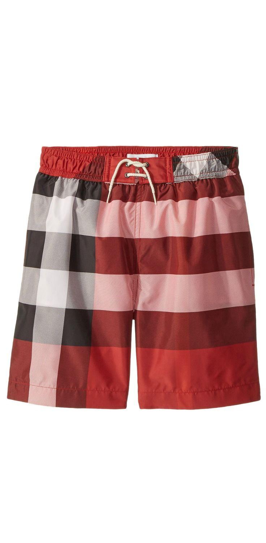 9e4b679eefd22 He ll enjoy delightful days of fun making a stylish splash in the  Burberry   Kids  Swim  Check  Shorts.  boy  swim  swimwear  trunks  child  children