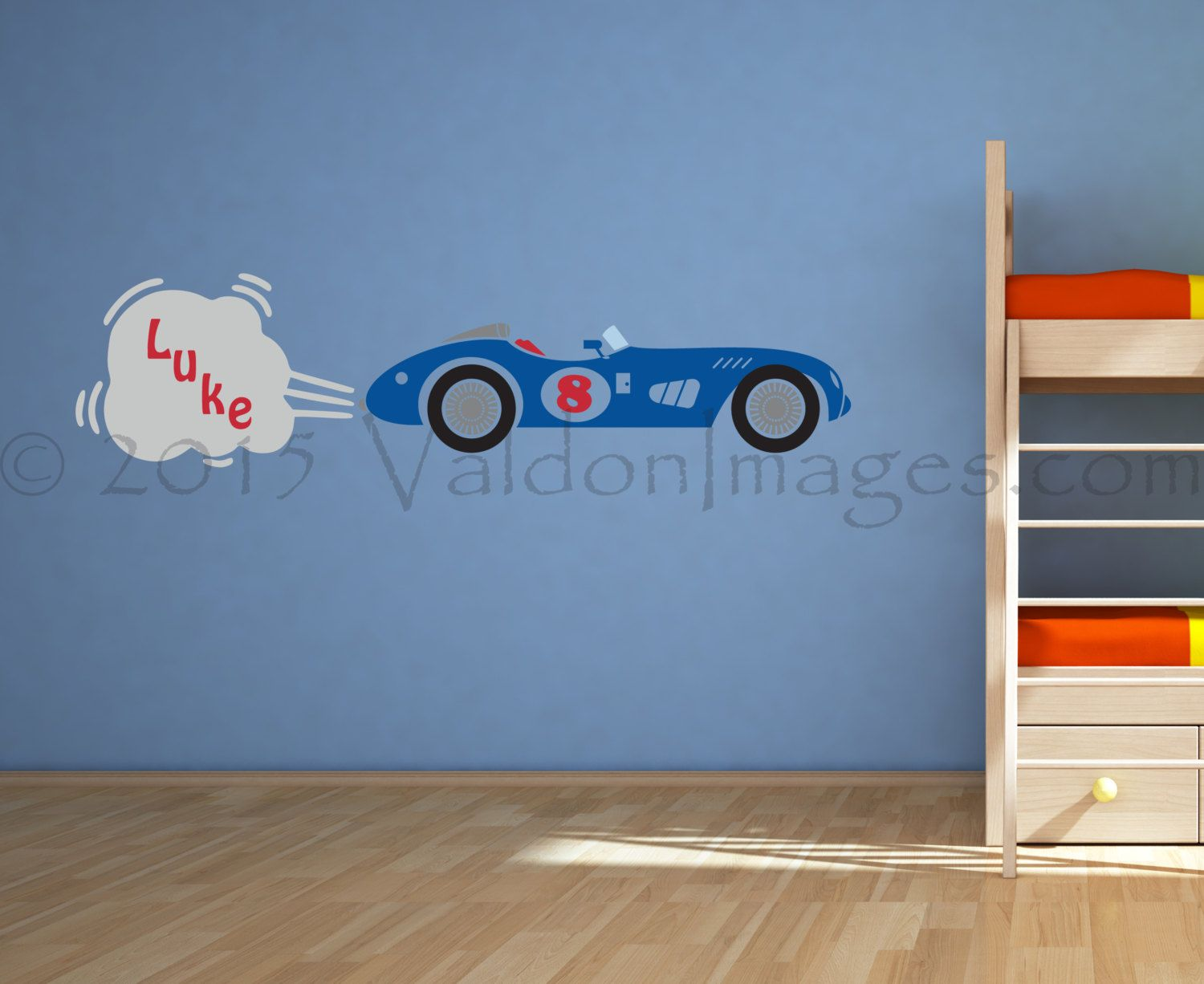 Race Car Room Decor Race Car Wall Decal Nursery Decals Kids Wall Decal Boys Room