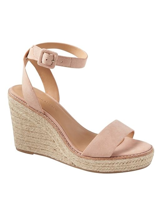 bf1482294eb Banana Republic Womens Espadrille Wedge Sandal Pink Sundown Suede ...