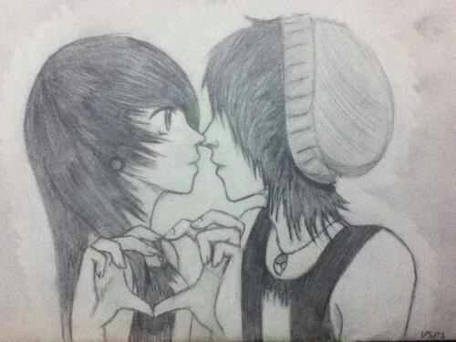 Cute Emo Couple Drawings Google Search Cute Emo Couples Emo