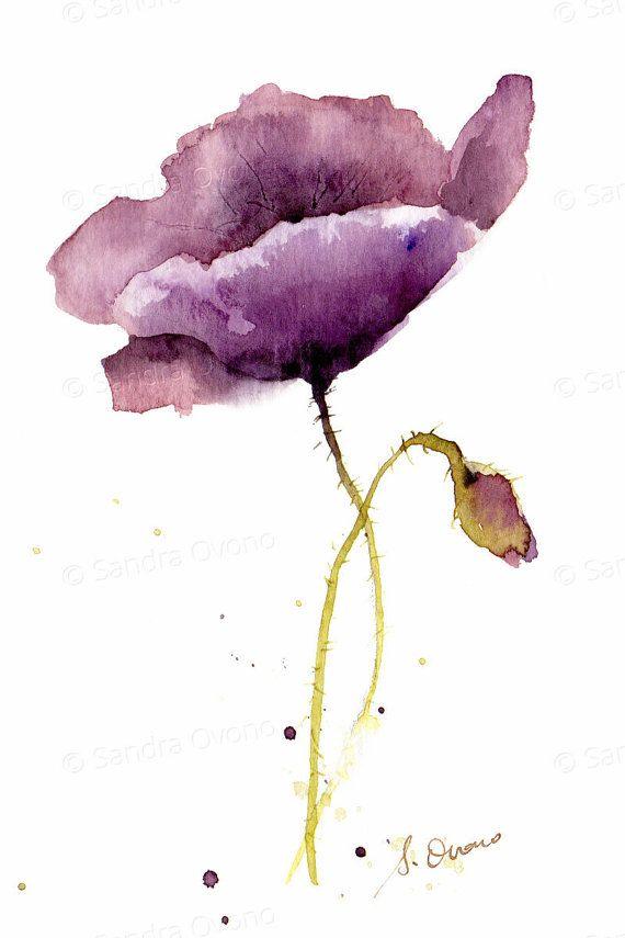 Reproduction Aquarelle Coquelicot Peinture De Fleur Violet