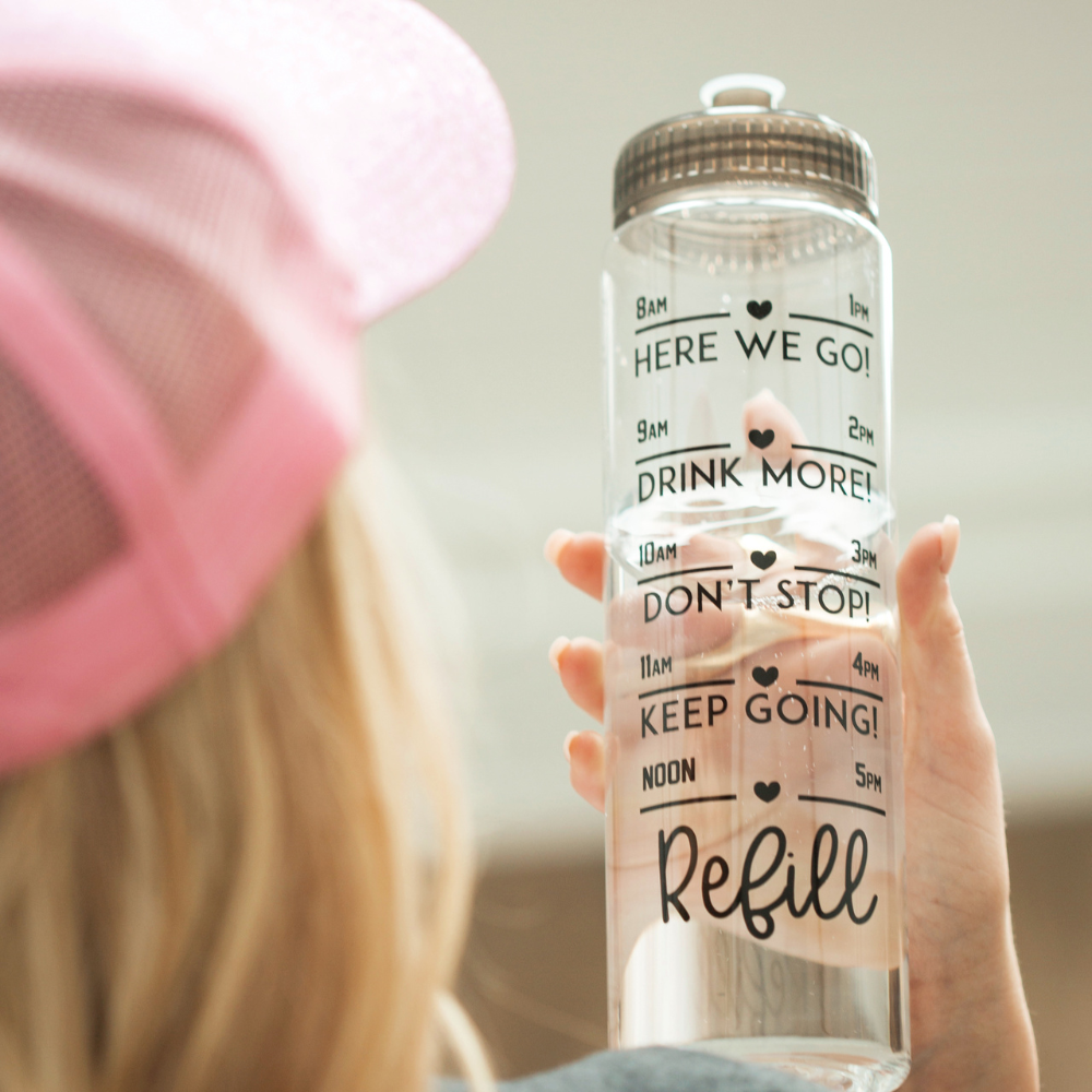 Time Tracker Water Bottle | Hearts & Refill