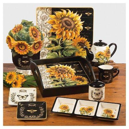 10 5 4pk Ceramic Square French Sunflowers Dinner Plates Certified International Dinner Plate Sets Sunflower Kitchen Decor Sunflower Decor