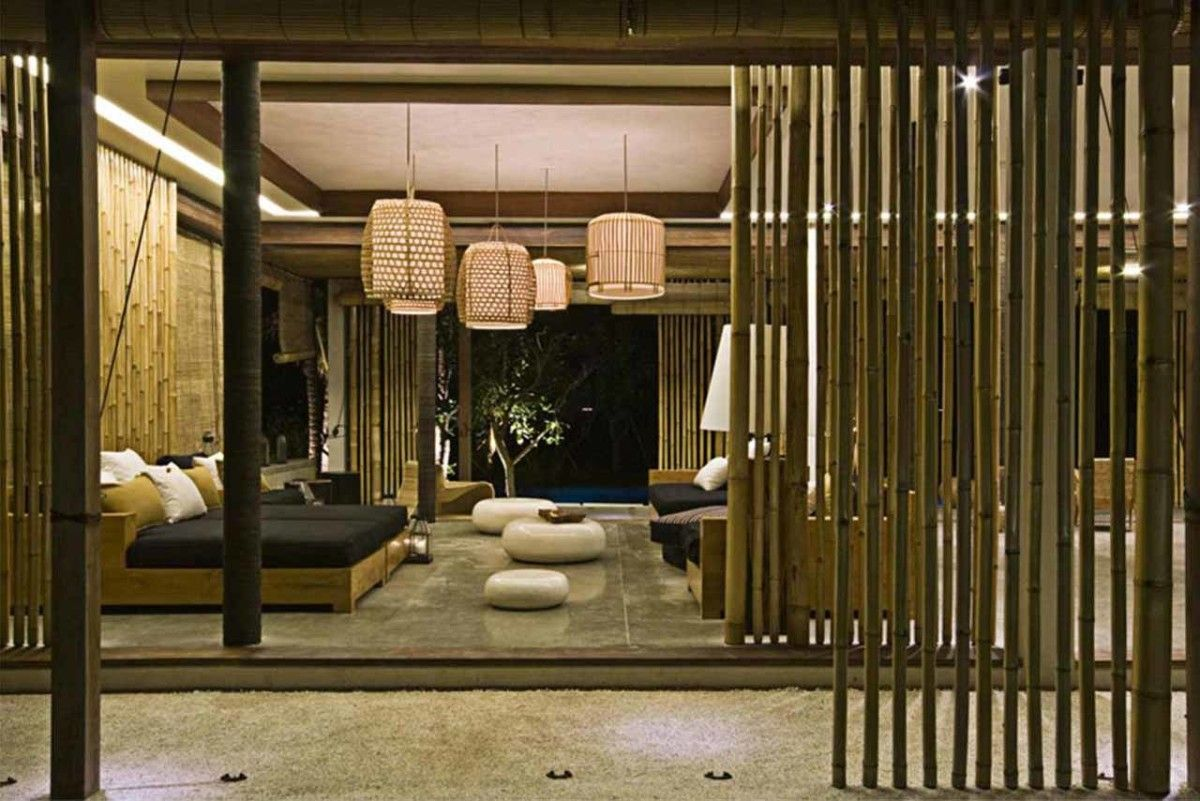 minimalist living room design with bamboo decoration 1 | modern