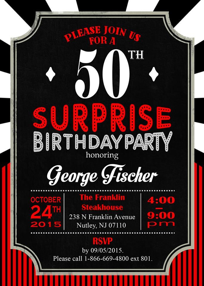 Casino Themed Invitations | Pastor Fischer\'s Surprise 50th ...