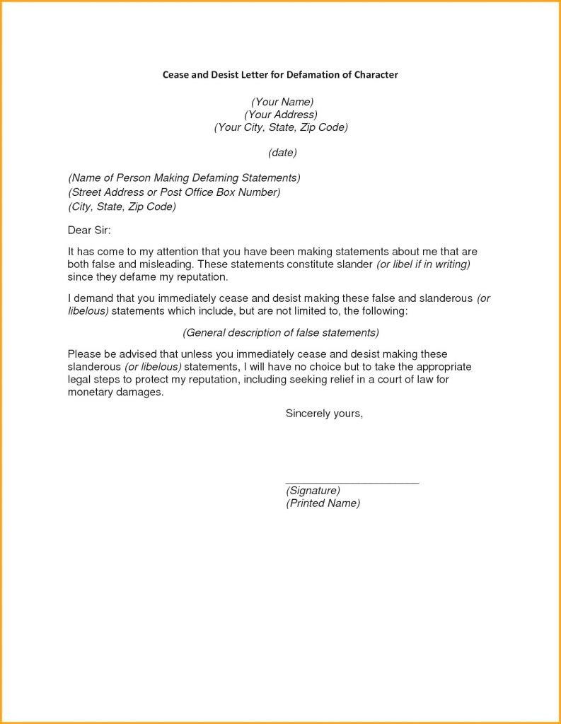 Cease And Desist Letter Template Florida Free Uk Trademark