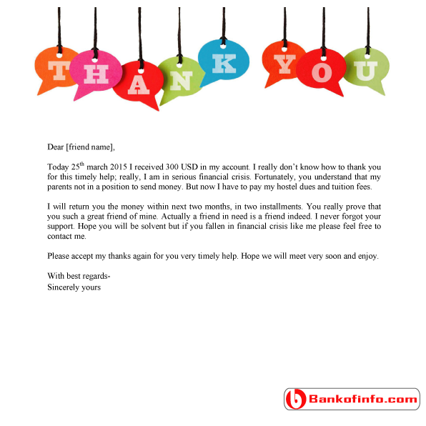 Sample Thank You Letter For Financial Support  Letter