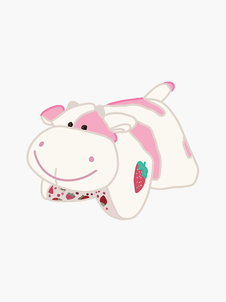 Strawberry Cow Pillow Pet Sticker By Madelinech In 2020 Animal Pillows Pink Cow Cute Patterns Wallpaper