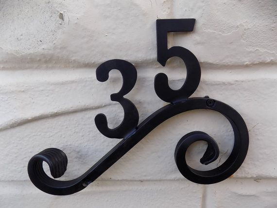 Heavy Duty Wrought Iron Scrolled Bespoke House Number Plaque House Numbers Iron House Numbers House Number Plaque