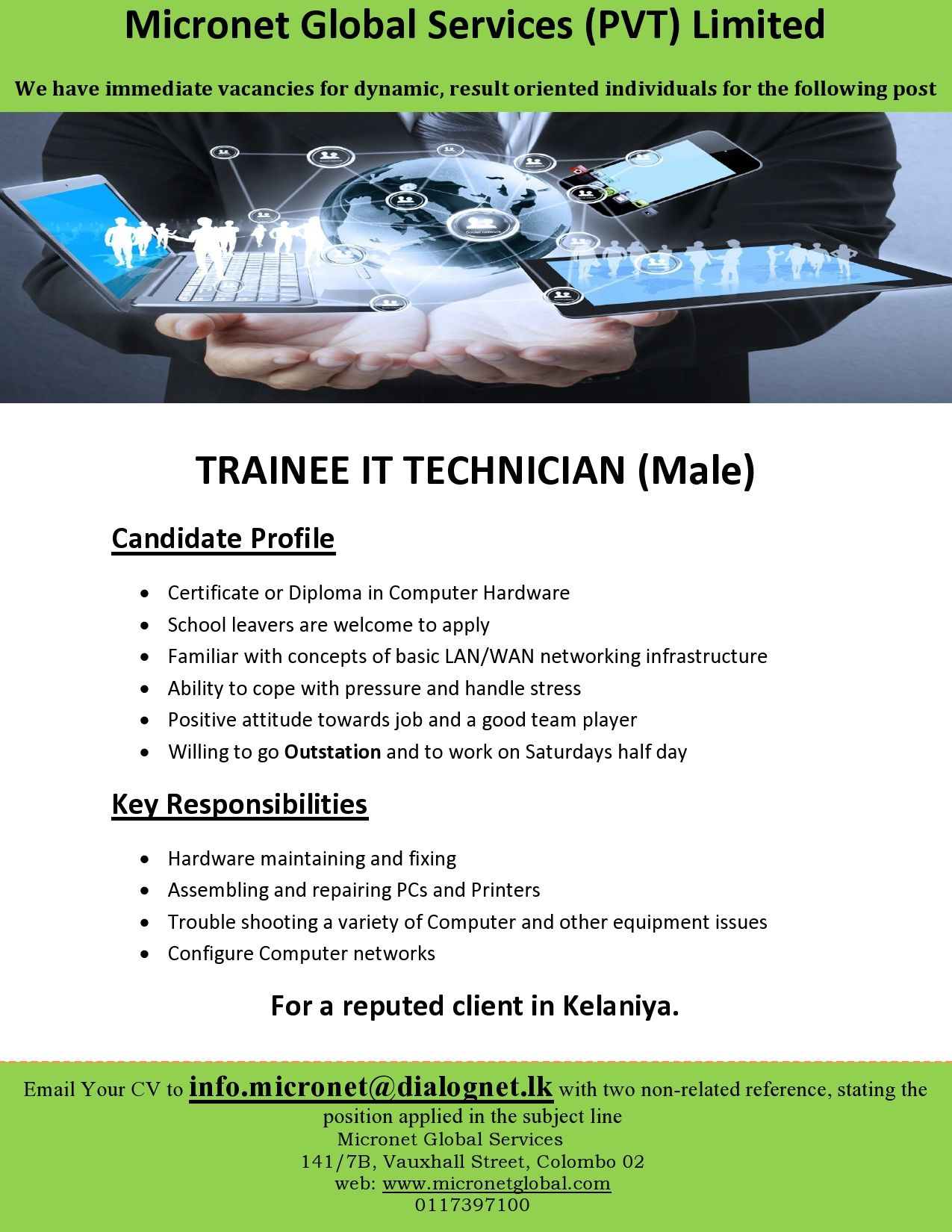 trainee it technician at micronet global services  pvt