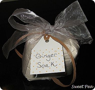 I have a friend at school who is going through a rough time. She's recently divorced and has had some other tough things happen to her recently. I wanted to do a little something nice for her, so I made her some Ginger Soak using a recipe in the January issue of Martha Stewart Living. …