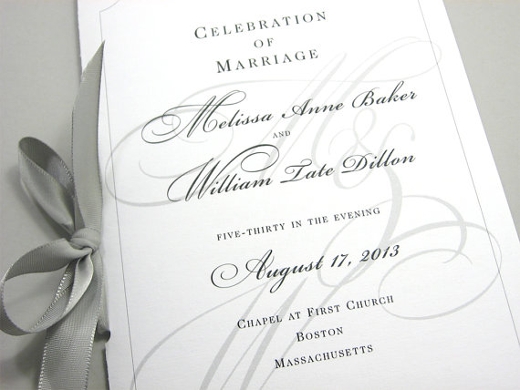 Wedding Ceremony Program Booklet Elegant Black White Custom Clic Design Traditional Script Initials