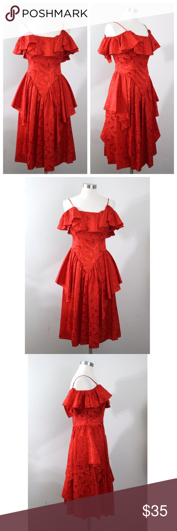 Vintage s red jc penney off shoulder prom dress vtg s red jc