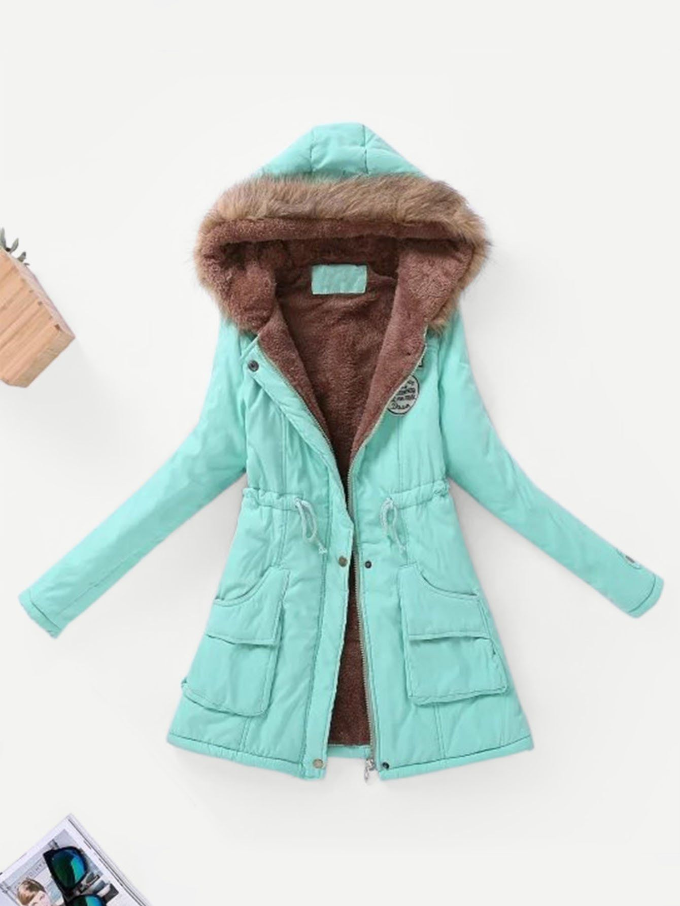 Fall Winter Womens lady Faux Fur Collar Long Sleeve Coat Warm Jackets Outerwear