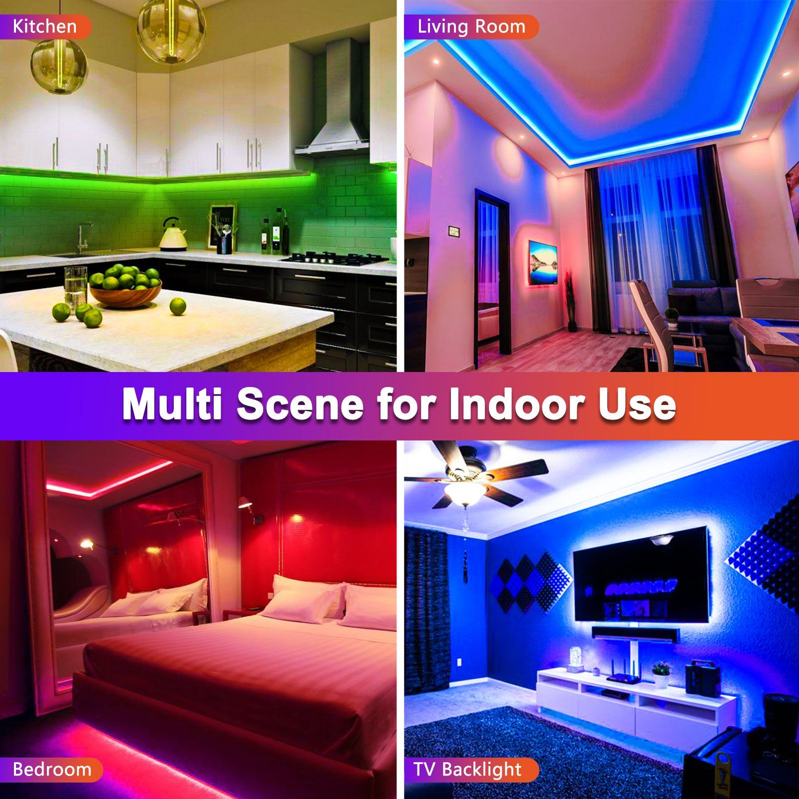 Eeekit 16 4ft 300 Led 3528smd Light Strip Multi Color Changing Includes 44 Key Remote 12v Power Supply For Home Lighting Kitchen Bed Bar And Decor Wal In 2020 Strip Lighting