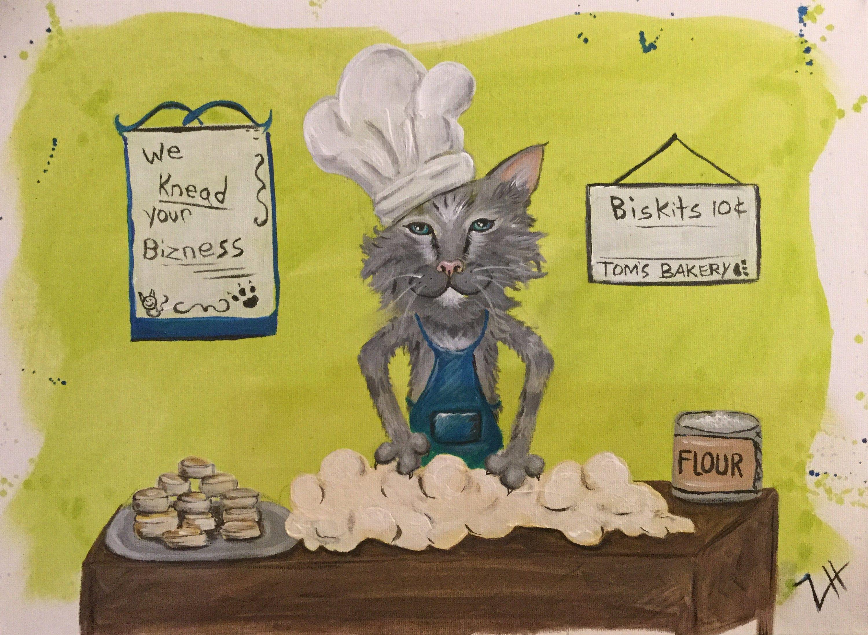 "Super Cat! Fine Feline Series 4 Original Painting ""Making"