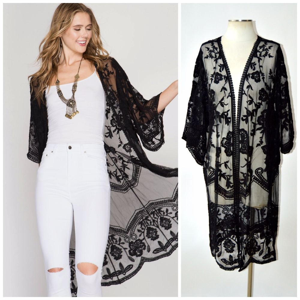 Long lace cardigan - She Sky Boho Crochet Lace Bell Sleeve Long Kimono Duster Cardigan Black Cream